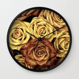 autumn dying roses Wall Clock