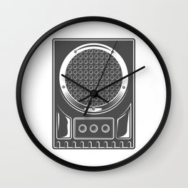 Vintage music concert audio loudspeaker in monochrome style illustration Wall Clock