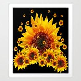 Raining Yellow Sunflowers Decorative Black Pattern  Art Print