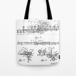 Flute Patent - Musician Art - Black And White Tote Bag