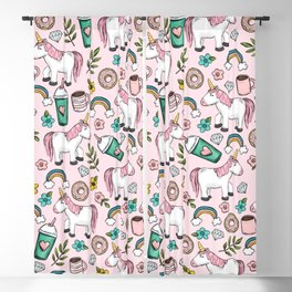 Pink Unicorn, Sweet Pink, Donuts and Frappuccino, Cute Emoji Print for Girls, Tween Decor Blackout Curtain