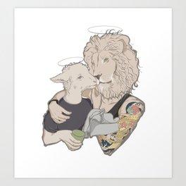 Lion vs. Lamb Art Print