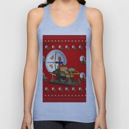 Time Machine on Red Unisex Tank Top