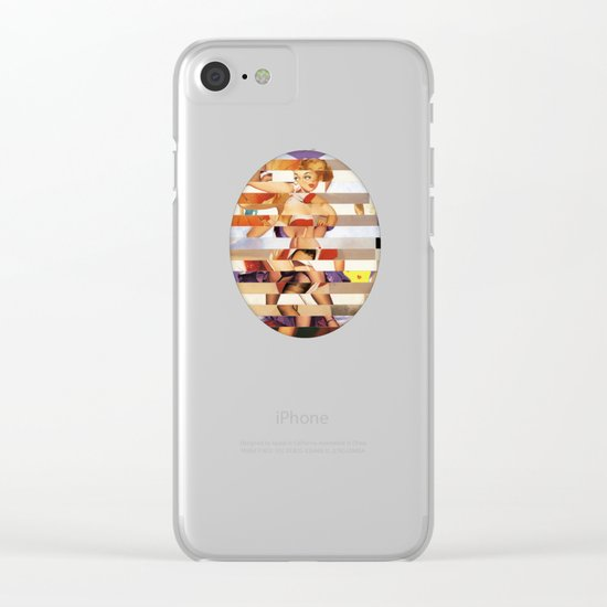 Glitch Pin-Up Redux: Amber Clear iPhone Case