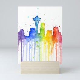 Seattle Skyline Rainbow Watercolor Mini Art Print