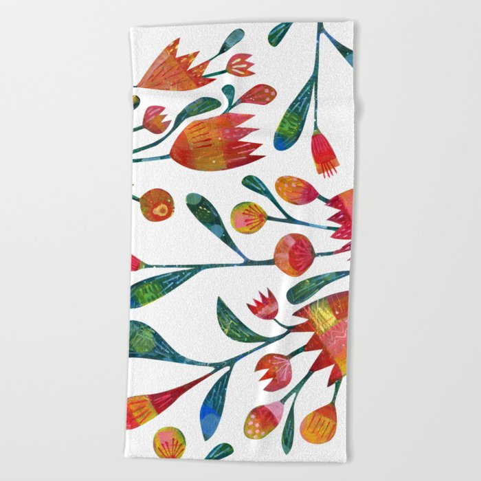 Buds and Flowers Beach Towel