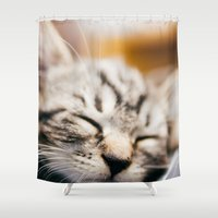 sleep Shower Curtains featuring Sleep by Rizwanb