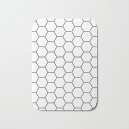 Geometric Honeycomb Pattern - Black #378 Bath Mat