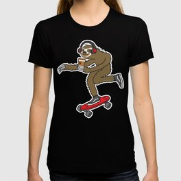 Skater Sloth Coffee T-shirt