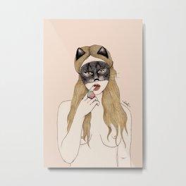 CAT MASK Metal Print