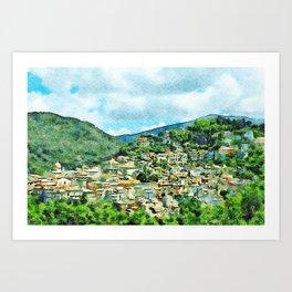 Landscape with village Art Print