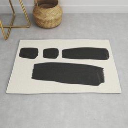 Mid Century Modern Minimalist Abstract Art Brush Strokes Black & White Ink Art Square Shapes Rug
