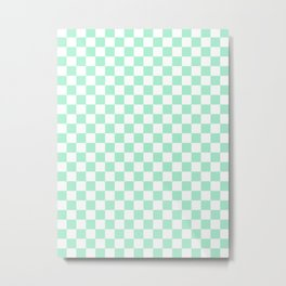 White and Magic Mint Green Checkerboard Metal Print