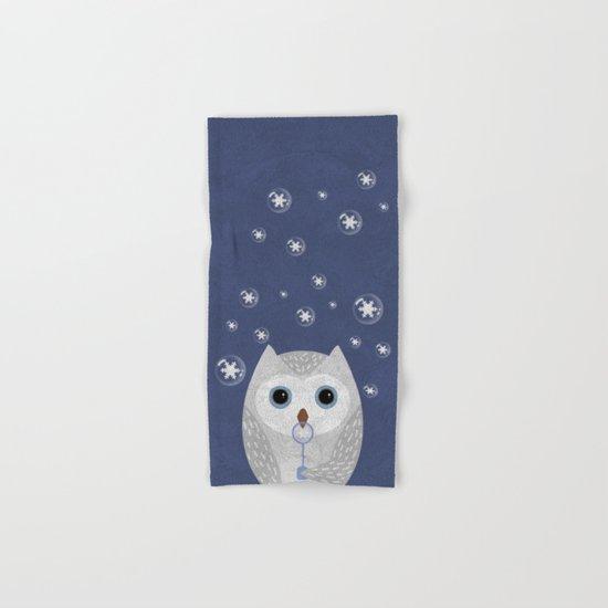 Christmas Owl Blue Marble Hand & Bath Towel