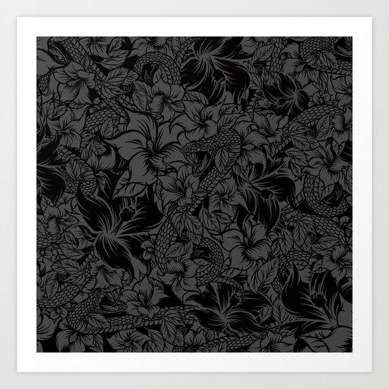 Snaky Fleur, Black and Grey Art Print