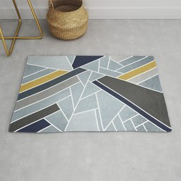Soft Silver/Blue/Navy/Gold Rug