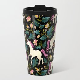 Dancing Unicorns In The Garden Fantasy Tapestry Pattern Travel Mug