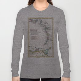 Vintage Map of The Antilles Islands (1780) Long Sleeve T-shirt