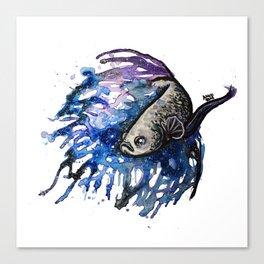 Galaxy Betta Fish Watercolor Canvas Print