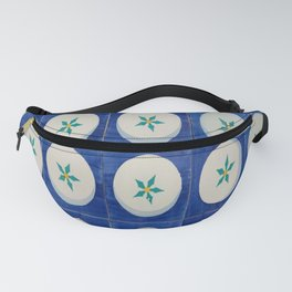 Blue squares green leaves Fanny Pack