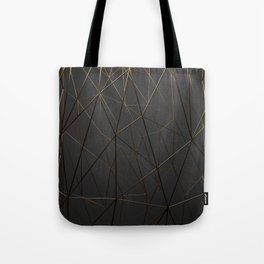Golden Wireframe Triangles Tote Bag