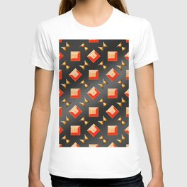 Pattern of squares and diamonds in orange T-shirt