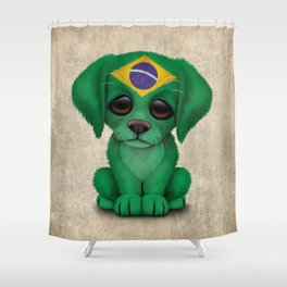 Cute Puppy Dog with flag of Brazil Shower Curtain