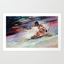 Skiing Dowhill Art Print