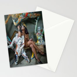 Nude Woman Smoking with Brightly Colored Manequins Stationery Cards