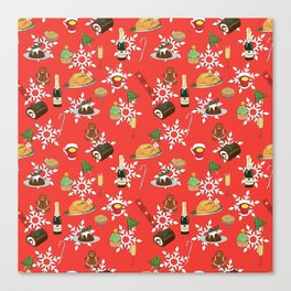 Christmas food festive pattern Canvas Print