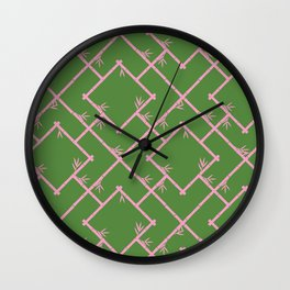 Bamboo Chinoiserie Lattice in Green + Pink Wall Clock