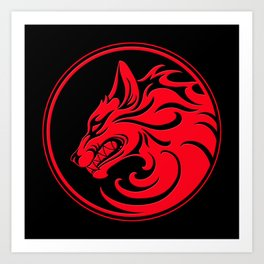 Red and Black Growling Wolf Disc Art Print