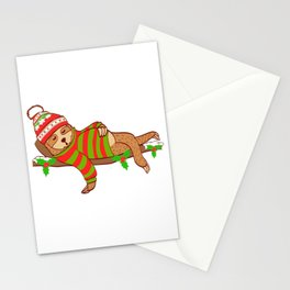 All I Want For Christmas Is An Uninterrupted Nap Merry Christmas T-Shirt Design Lazy Slow Tree Hung Stationery Cards