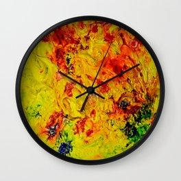 Abstract Yellow Swirls Wall Clock