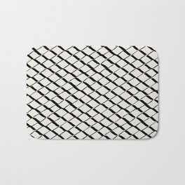 Modern Diamond Lattice 2 Black on Light Gray Bath Mat