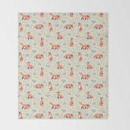 Fox and Bird Pattern Throw Blanket