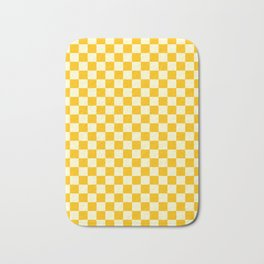Cream Yellow and Amber Orange Checkerboard Bath Mat