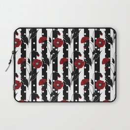 Retro. Red poppies on a black and white striped background. Laptop Sleeve