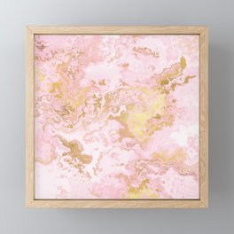 Rose Gold Metal Foil on Pink Marble  -  Summer Girl I Framed Mini Art Print