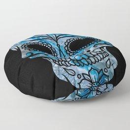 Blue Lace Sugar Skull Floor Pillow
