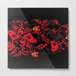 Red Floreal Texture Metal Print
