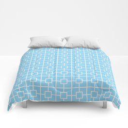 Baby Blue Square Chain Pattern Comforters