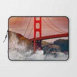 Waves over Red Bridge Laptop Sleeve