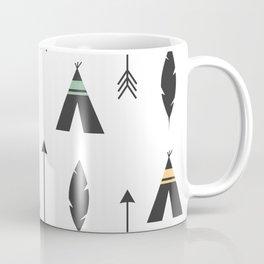 cute feathers, arrows and teepee ethnic tribal seamless pattern illustration Coffee Mug