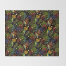 Jungle Pattern with Monkeys, Macaws and colorful Dart Frogs Throw Blanket