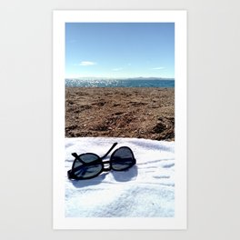 see, sun glasses, calm , beach , summer Art Print