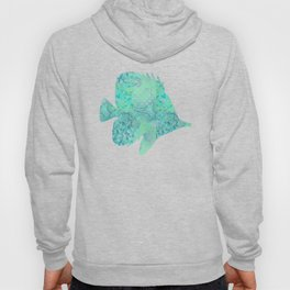Butterflyfish Buttefly Fish Tropical Fish Vintage Floral Mint Teal Turquoise Blue Hoody
