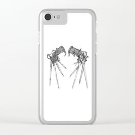 Scissorhands (BnW) Clear iPhone Case