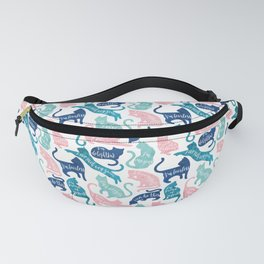 Be like a cat // white background pastel pink blue aqua and teal cat silhouettes with affirmations Fanny Pack