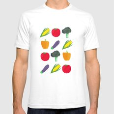 Veggies! White SMALL Mens Fitted Tee